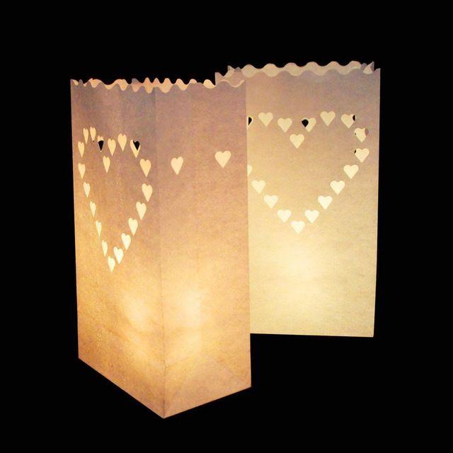 Groothandel Licht Houder Luminaria Wit Papier Lantaarn Kaars Zak voor Bruiloft Valentijnsdag Vakantie Decoratie 100 stks/partij