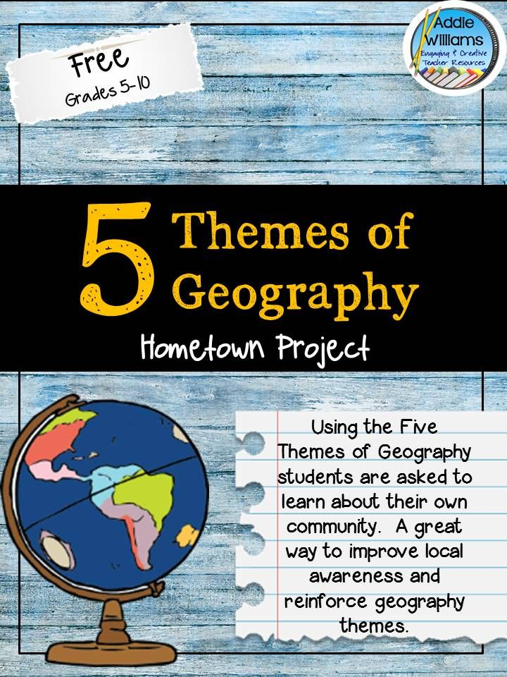 FREE Five Themes of Geography Activity Apply the five themes of geography to your home town! Everything included to get started today!