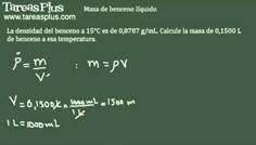 Cálculo de densidades – masa de benceno líquido