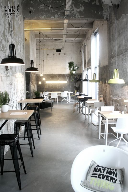 tables mounted against wall_ sugar/ milk