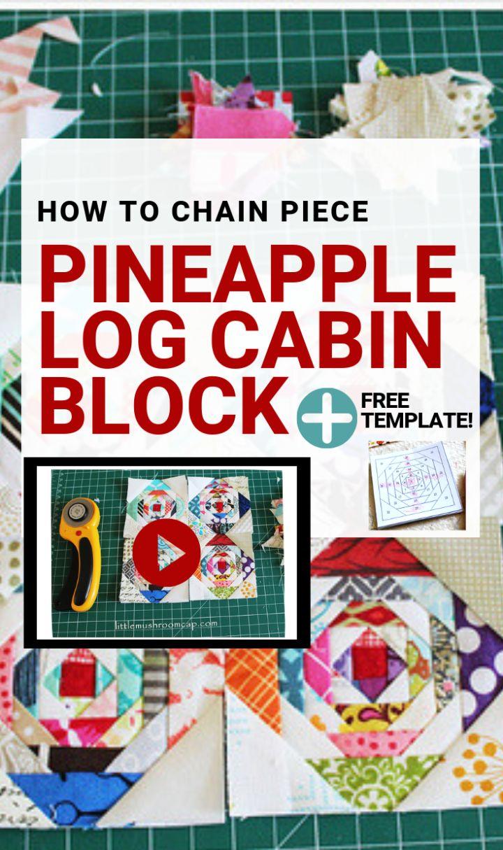 Paper pieced 3″ Pineapple Log Cabin Block Mini Quilt Progress : Free paper piecing template + A video
