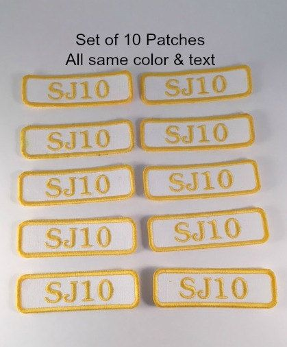 SET OF 10 - Personalized Name Patch (Style 4) - Rectangle Name Patch, Shirt Patch, Uniform Patch, Embroidered Patch, Sew On, Iron On