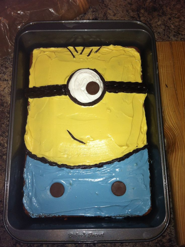 Earon's minion birthday cake (homemade funfetti cake)