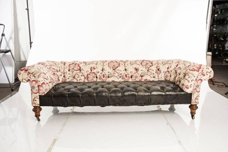 Leather and Fabric Chesterfield Sofa 2