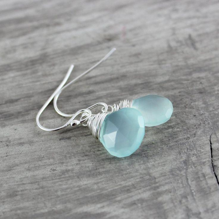 LIGHT AQUA STERLING SILVER GEMSTONE EARRINGS | Earrings | Necklace | Jewelry | Gemstone Jewelry | #gemstone #druzy #gemstonejewelry #jewelry #handmadejewelry | www.starlettadesigns.com