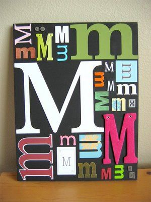#Canvas #Art Thinking Each kid could do their letter...start cutting and collecting letters of all types! Cut from felt, fabric, papers, cereal boxes???