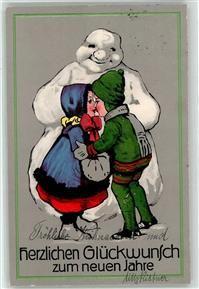 1913 Künstlerkarte Schneemann Kind Kuss Muff Neujahr