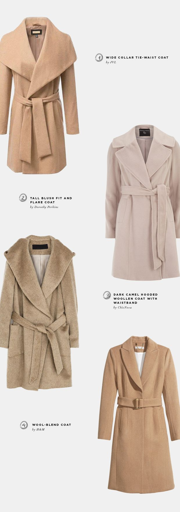 affordable winter coats, chic nova, h&m, uniqlo, tweed, parka, camel, modcloth, bold colored coats, winter coat trends 2014, outerwear trends, JVL, duffle coats, long coats, hooded parka trends 2014, joe fresh, zara, printed coats, mango, wrap coats, dorothy perkins, blush coats, beige coats, wool-blend coats