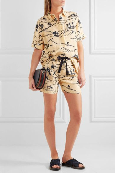 Victoria, Victoria Beckham - Printed Canvas Shorts - Pastel yellow - UK14