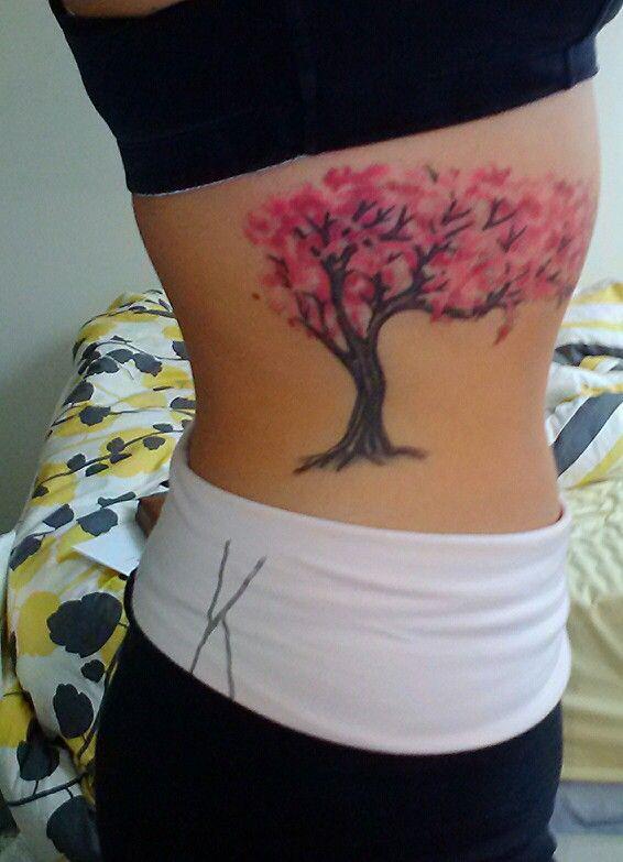 Cherry Blossom Tree Tattoo on rib cage - by Exotic Body Works, Hammonton, Nj