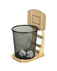 The wood trash stand, basket ball time in office.