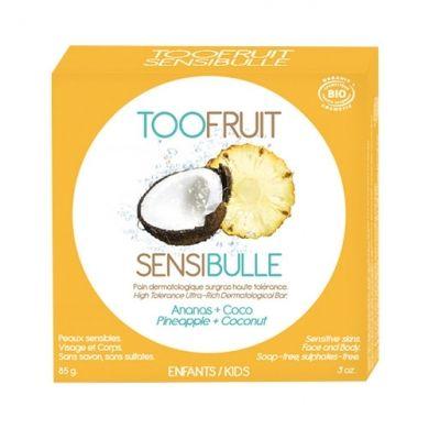 Pain Dermatologique Surgras Sensibulle Coco Ananas TOOFRUIT, nettoie en douceur le visage et le corps des enfants.