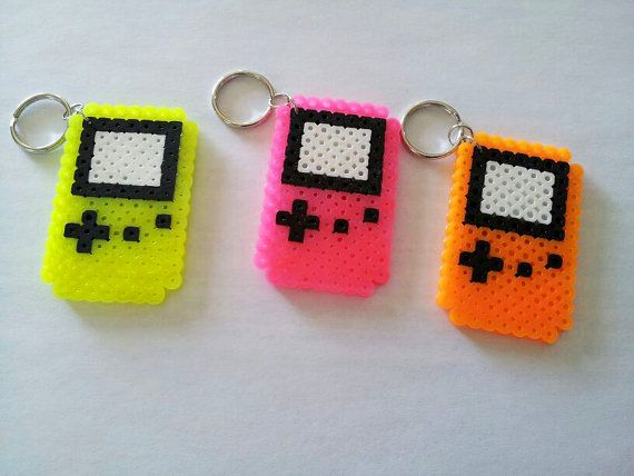 Neon Gameboy Color Perler Keychains by GeekyNotions on Etsy, $3.00