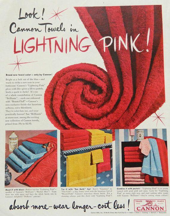 Vintage Cannon Towel Ad   Vintage Magazine Advertising   Hot Pink Bathroom  Decor