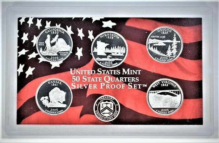 U.S Mint Made in Red Mint Box with COA SILVER Proof Set 2005-s U.S