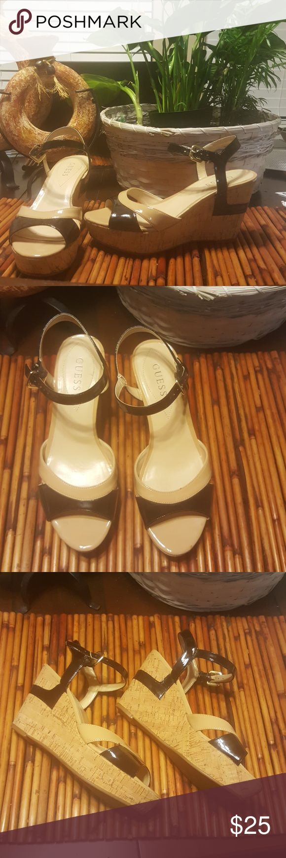 Today's Sale: Guess Cream and Black cork wedges Cork wedge sandals. 1 inch platform at toes and 3.5 inch platform at heels. Gently worn on few occasions. Guess Shoes Wedges