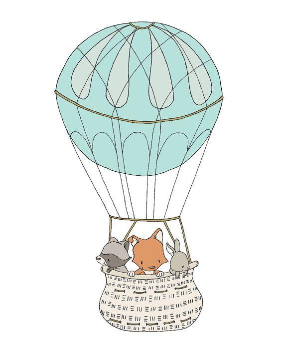 Woodland Nursery Art -- Up In The Clouds -- Woodland Friends Hot Air Balloon -- Children Art --  Kids Wall Art