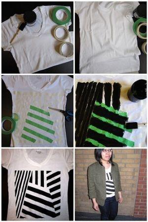 DIY acrylic painted geometric shirt by eliza