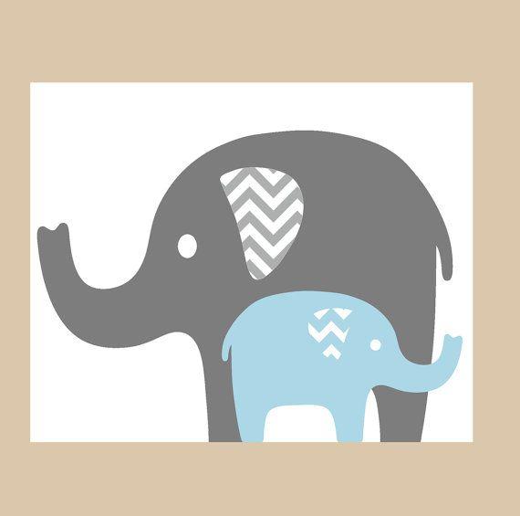 Nursery Decor Nursery Art Prints for Nursery Gray Blue Elephant