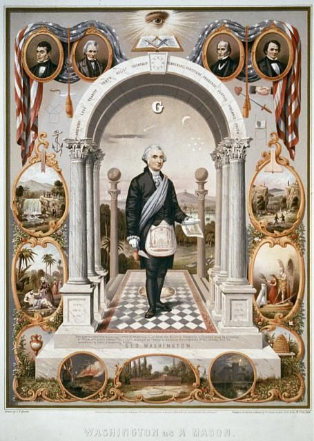 President George Washington, drawn as a Mason, surrounded by Masonic imagery. Drawn by J.F. Queen in 1867; printed in oil colors by P.S. Duval Son & Co.