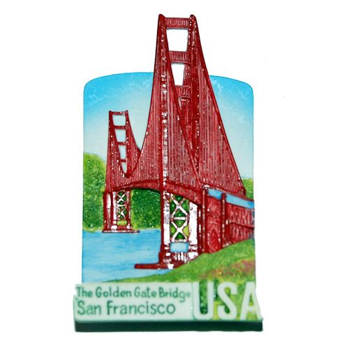 Resin Fridge Magnet: United States. Golden Gate Bridge in San Francisco