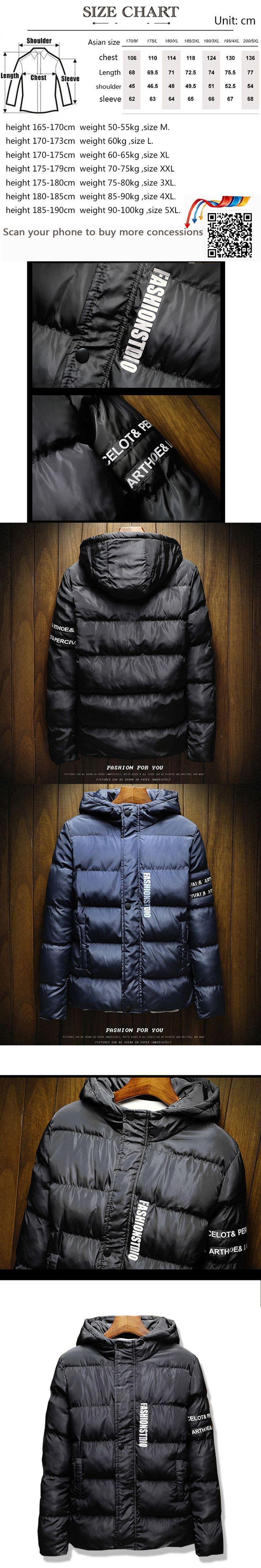 Men Jacket Fashion Jacket Men Hooded Winter Warm Cotton Jacket Male Parka Printed letters Coat Men Large size Coat black blue