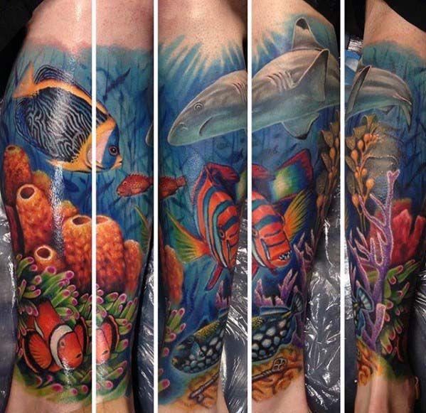 40 Ocean Sleeve Tattoos For Men Underwater Ink Design Ideas