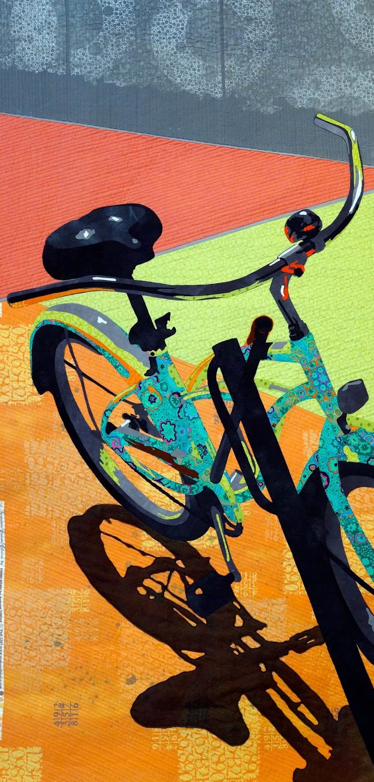 "Bicycle quilt: ""Weekend"", 42"" x 19"", by Martha Wolfe. Viewpoints 9 art quilt challenge."