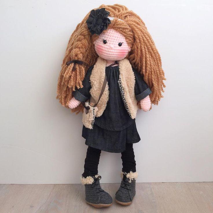 Ok to be honest, I wish I could keep this one... #baby #doll #dolls #amigurumi #amigurumidoll #crochet #crochetdoll#fashion #vest#boots#babyboots#denim#nursery#babyshower