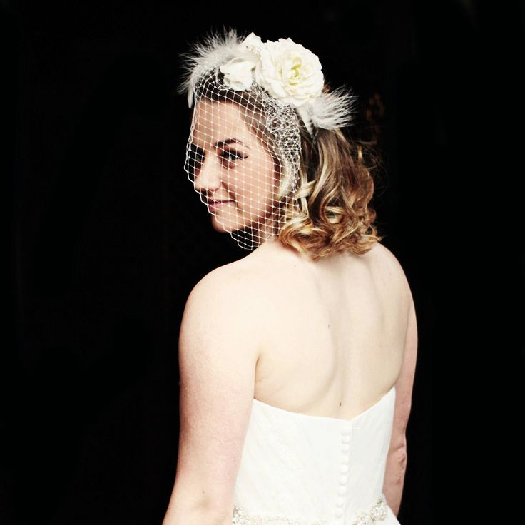 Bridal Birdcage veil and flower fascinator in ivory with beaded clusters and feathers.  Bridal headdress by AccessoriesShine on Etsy
