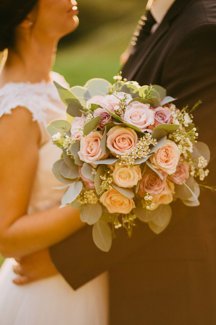 Blush Pink Rose Bouquet - Urška & Domen Photography | Outdoor Ceremony at Ruin Monastery Žiče Charterhouse in Slovenia | Blush Pink Reception | Romantic Lace & Tulle Wedding Dress from Poročni Kotiček Bridal Boutique