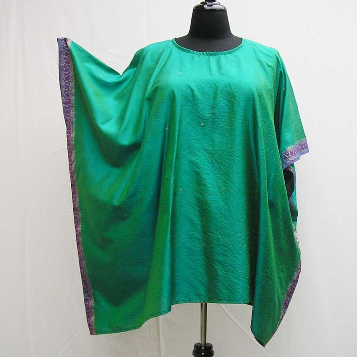 Green tunic, Plus size Caftan, silk emerald caftan, plus size tunic, cover up, sari caftan, boho kaftan, 1x 2x 3x 4x 5x 6x, upcycled tunic by Rethreading on Etsy
