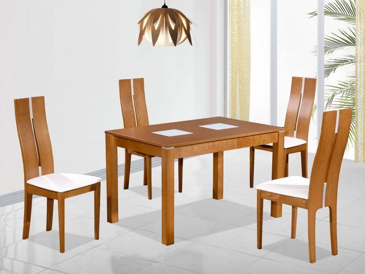 Table extensible SALENA II - 4 à 6 couverts - Hêtre massif coloris chêne