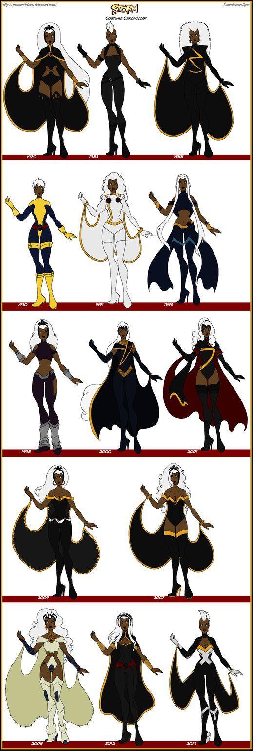 X-Men - Storm Comic Costume Chronology by Femmes-Fatales on DeviantArt