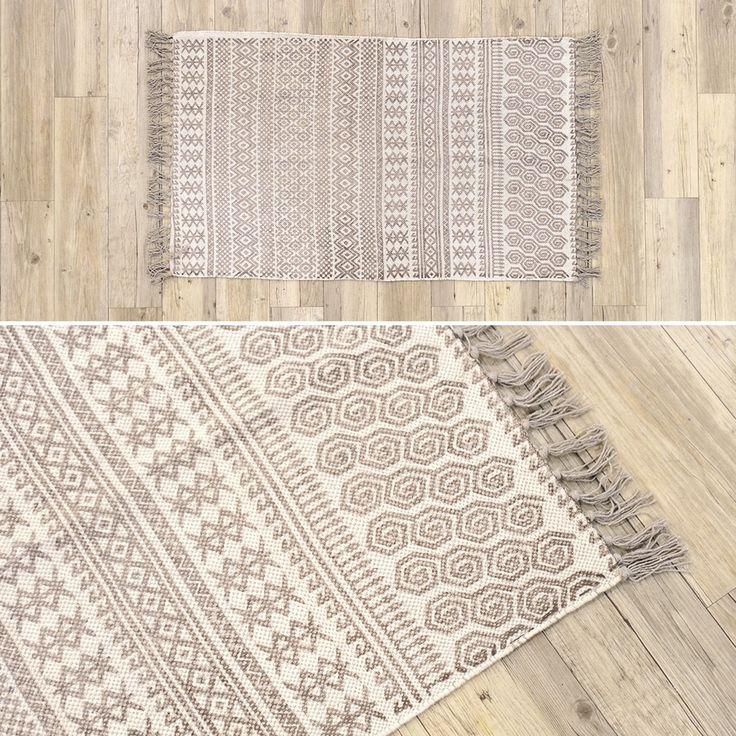Tapete Geométrico Natural e Castanho 70 x 110 cm   A Loja do Gato Preto   #alojadogatopreto   #shoponline   referência 82867410