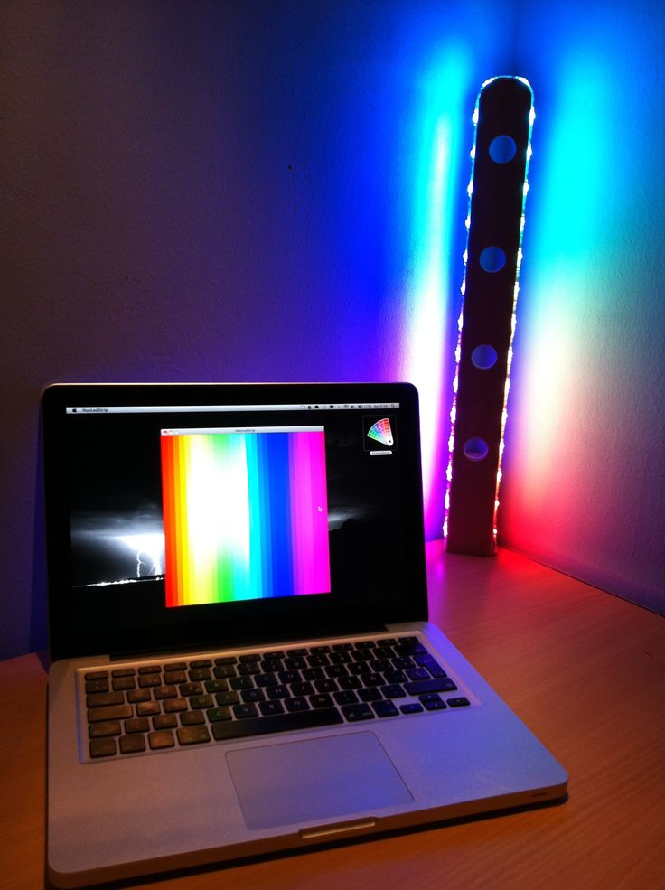 Miguel's lamp consists of an Arduino-controlled RGB light strip. Shows the operation of an RGB lamp using a digital LED strip. After activating the bluetoo