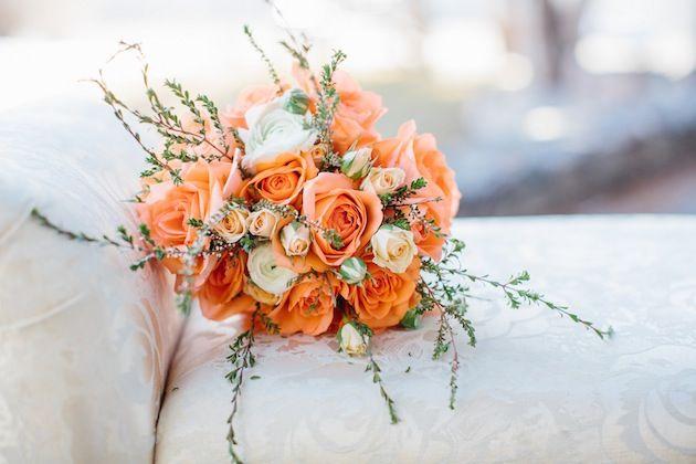 Whimsical Peach, Orange & Aqua Bridal Shoot - Lora Grady Photography