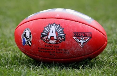 AFL 2012 Rd 05 - Collingwood v Essendon    The match day ball lays on the ground before the AFL Round 05 ANZAC Day match between the Collingwood Magpies and the Essendon Bombers at the MCG, Melbourne. (Photo: Lachlan Cunningham/AFL Photos) AFL Media — at Melbourne Cricket Ground (MCG).
