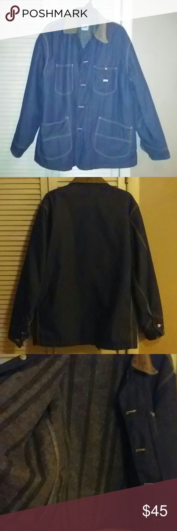 Vintage Lee field coat Vintage Lee brand barn coat or field coat. Used but in almost like new condition with no visible flaws. Raw denim with thick blanket non removable liner and tan corduroy collar. No size tag but it fits like a xl to me. All buttons and snaps are 100%. This coat will last a lifetime. Thanks Lee Jackets & Coats