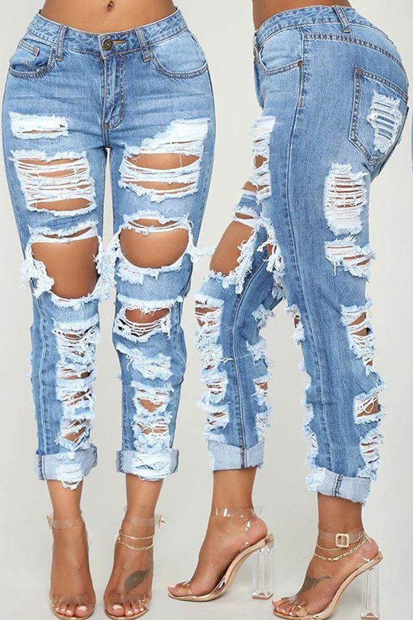 Casual Mid Waist Broken Holes Blue Jeans | Jeans outfit women