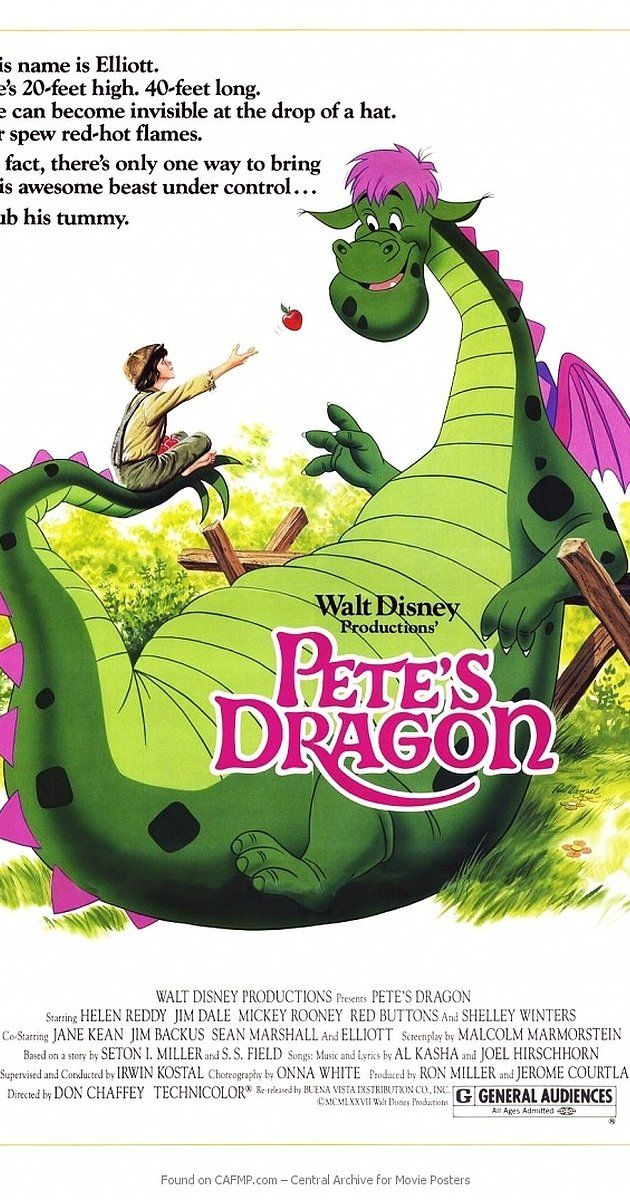 Directed by Don Chaffey.  With Sean Marshall, Helen Reddy, Jim Dale, Mickey Rooney. An orphan boy and his magical dragon come to town with his abusive adoptive parents in pursuit.