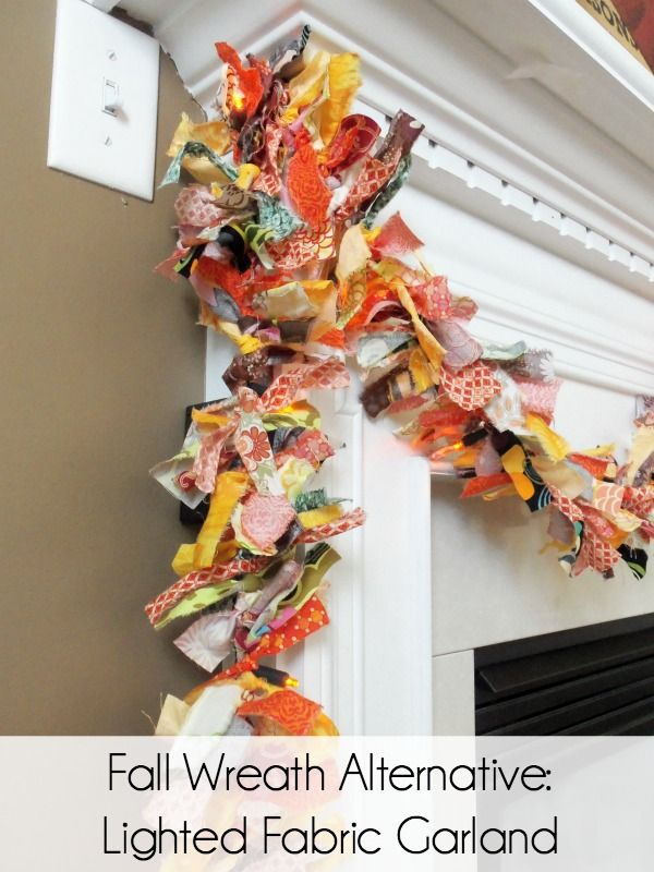 Make a lighted fabric garland instead of a wreath this fall. It's easy and so versatile!