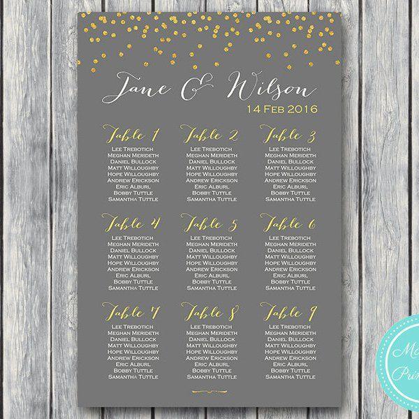 Gold Sprinkle Printable Wedding Seating Chart Wedding Seating Board WD47 WC35