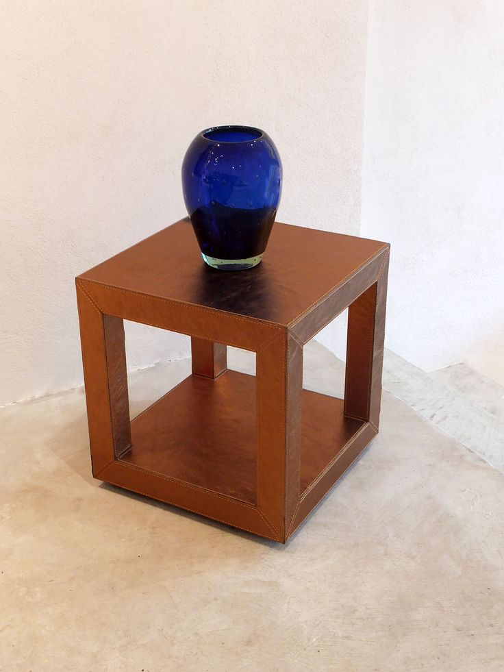 Hand Blown Blue Glass Vase - Longhi Gold Leather Side Table
