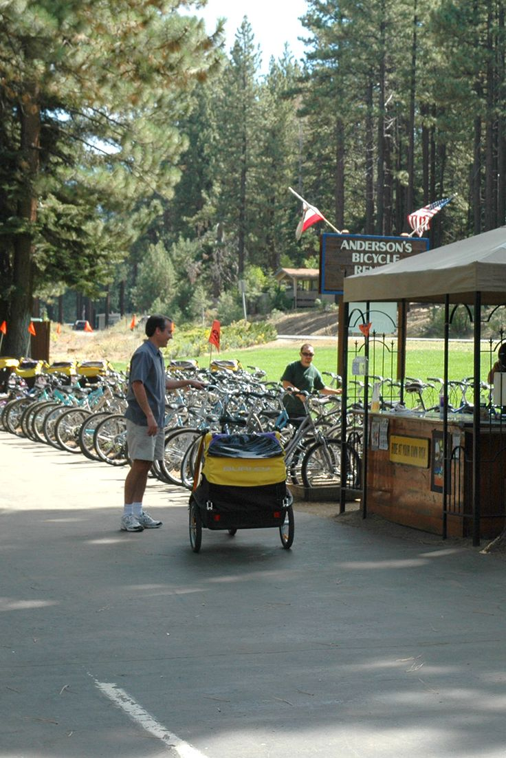 South Lake Tahoe Anderson's Bicycle Rentals offers bikes and access to one of the best family bike trails. Come enjoy an easy afternoon bike ride along the paved, forested path by Camp Richardson Resort and Marina down to the popular South Lake Tahoe beaches. This is a great way to spend your one of your Lake Tahoe vacation days this summer.