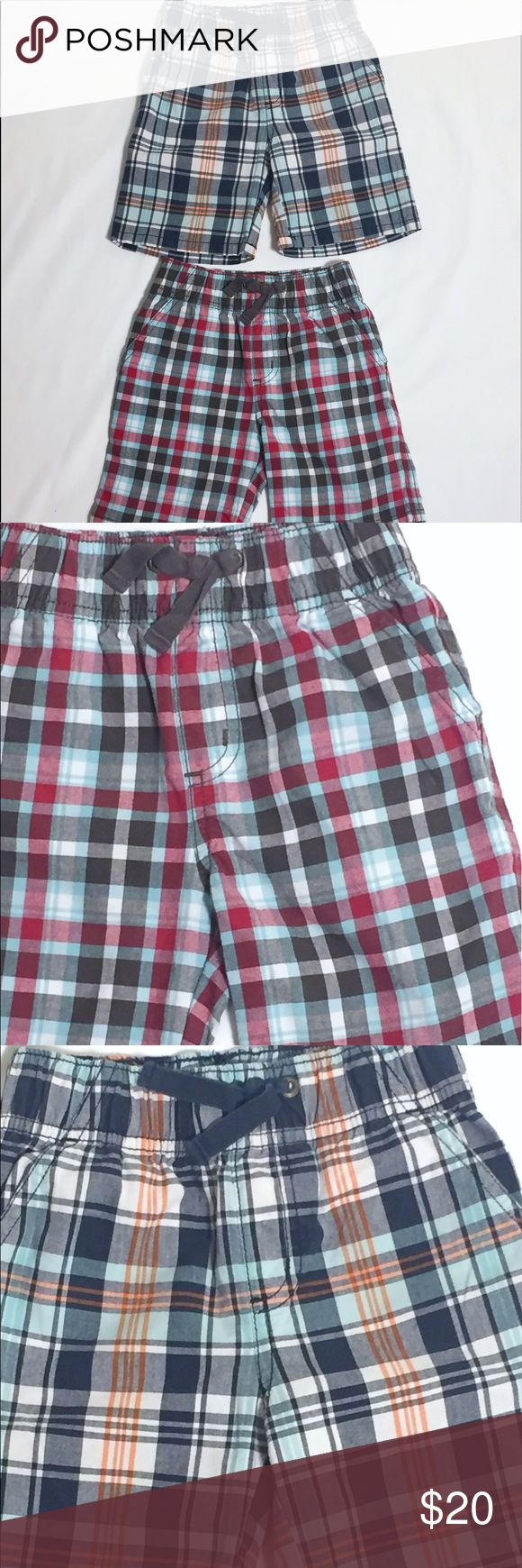 EUC Two pairs of Gymboree boys shorts. Size 2T TWO EXCELLENT used and cared for condition boys shorts. Gymboree size 2T. Plaid shorts with elastic waist and draw string. Two side pockets and two pockets on the back side. Price includes both pairs. Gymboree Bottoms Shorts
