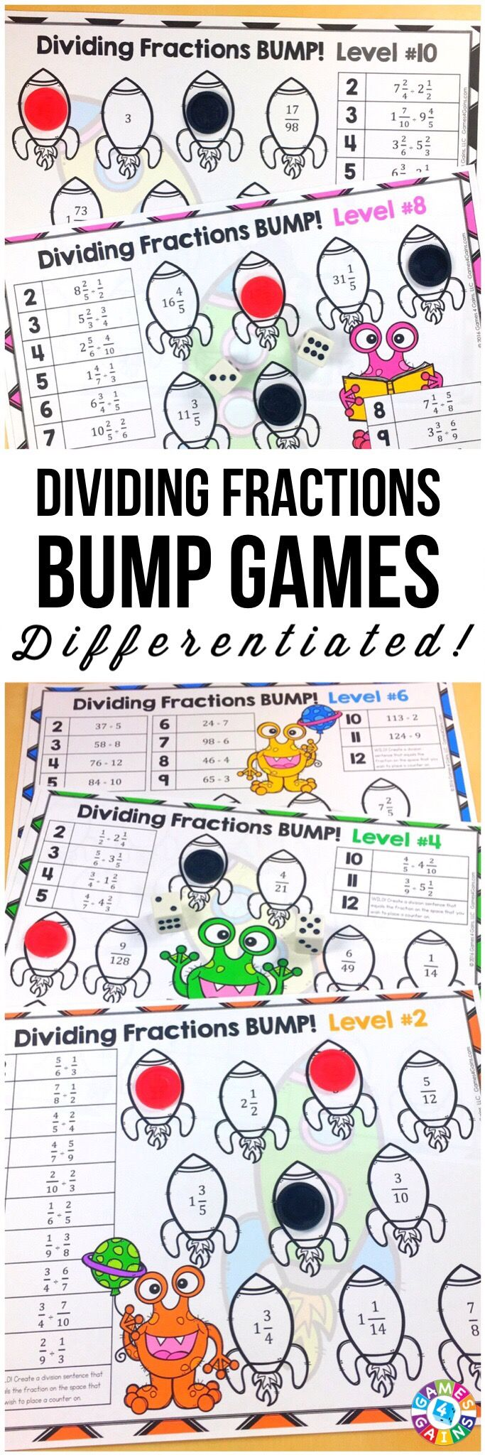 Dividing Fractions & Dividing Mixed Numbers Bump Games {57, 6ns1}