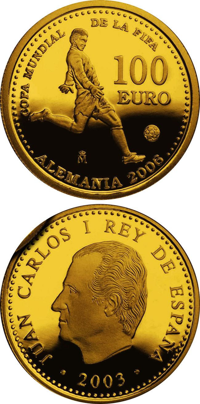N♡T.100 euro: FIFA World Cup Germany 2006 - Issue 2003.Country: Spain Mintage year: 2003 Face value: 100 euro Diameter: 23.00 mm Weight: 6.75 g Alloy: Gold Quality: Proof Mintage: 25,000 pc proof