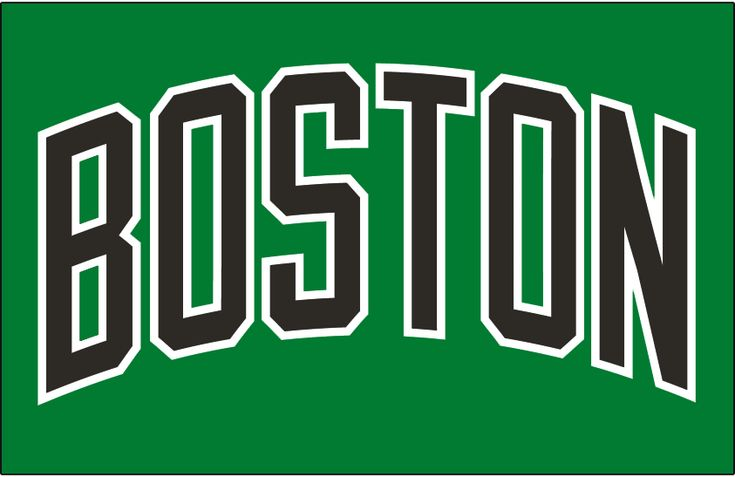 Boston Celtics Jersey Logo (2006) - BOSTON in black letters, arched on green - worn on the Boston Celtics alternate jersey