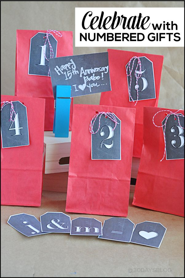 Unique gift idea: celebrate with numbered gifts! Includes several pages of #printable chalkboard tags (letters, numbers, blank).  www.thirtyhandmadedays.com